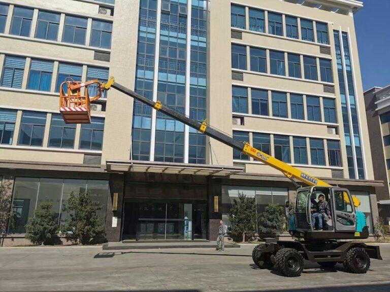 telescopic boom wheeled excavators